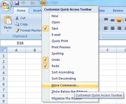 Add Controls to Excel Quick Access Toolbar