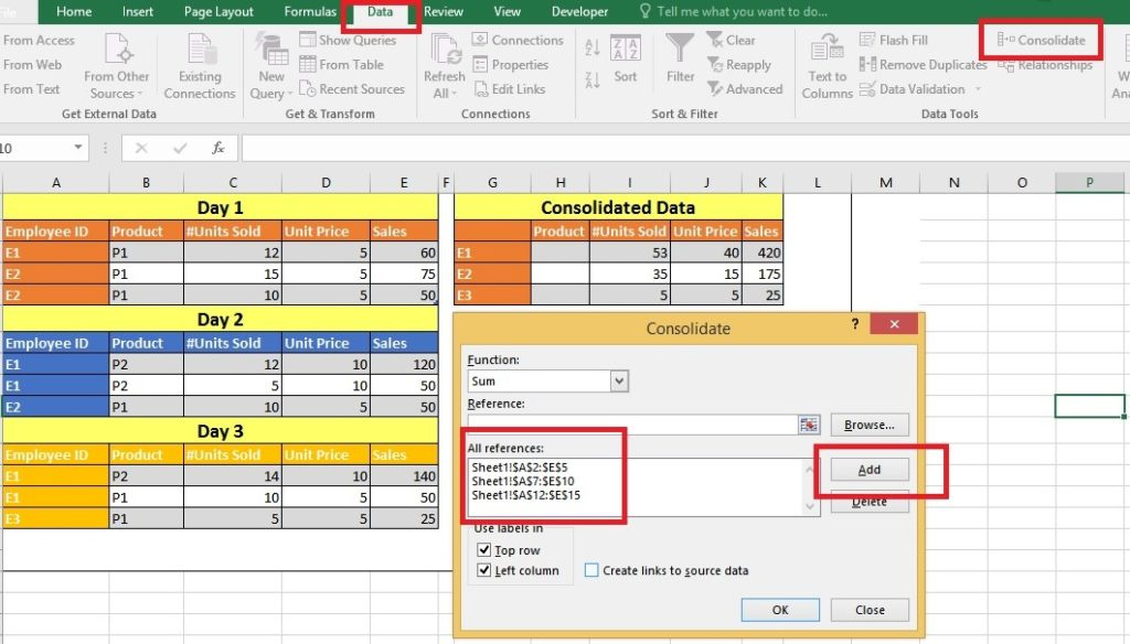 Data Consolidate In Excel - Create Summary Report