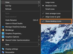 Option to Hide Icons in Desktop for Windows 10